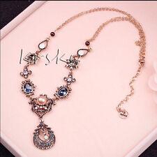 Charm Jewelry Crystal Pendant Chain Flowers Choker Chunky Statement Bib Necklace