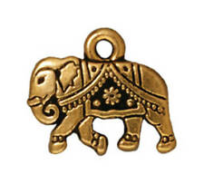 4 TierraCast Gita Elephant Charms, Antiqued Gold Plated Pewter T150-Q4