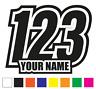 Race Numbers Set of 3 Car Motorbike Motocross Quad MX Kart Vinyl Stickers Decals