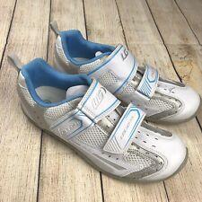Louis Garneau Ergo Grip Womens Cycling Shoes White and Blue Sz 8.5/ EU 40 Cycle