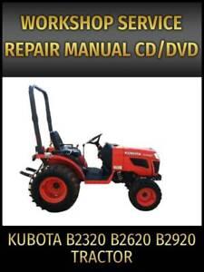 Kubota B2320 B2620 B2920 Tractor Service Repair Manual on CD