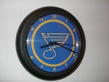 St. Louis Blue Hockey Gameroom Bar Man Cave Black Wall Clock Sign