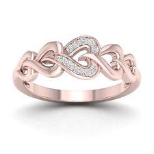 IGI Certified 10k Rose Gold 0.06 Ct Diamond Interlocking Heart Ring