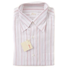 NWT $540 BRIONI White and Pink Striped Short-Sleeve Cotton-Linen Shirt M