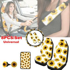 8PCS/Set Sunflower Car Seat Covers +Steering Wheel Cover + Seat Belt Armrest Pad
