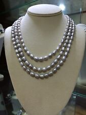 Gray Fresh Water Barrel  Pearls double hand knotted  necklace with 925 silver