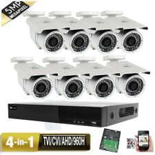 8Channel 5-in-1 DVR 5MP 4-in-1 9-22mm Lens TVI Security Camera System AHD 60B7