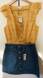 Lily Loves Denim Skirt Sz 10 Yellow Top Sz 12 New With Tags NWT RRP $55 Set