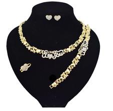 Hugs & Kisses I Love You Teddy Bear 18k Layered Gold XO X Heart Necklace Set #32