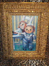 """ORIGINAL """"Sue Gallagher"""" Raggedy Ann and Andy Museum Quality Oil Painting WOW"""