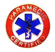 of Life Uniform 62 S2 Silver Red Paramedic Certified Collar Pin Device Blue Star