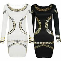 New LAdies Plus Size Foil Print Bodycon Midi Dress 16-24