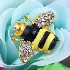 Cute BUMBLEBEE on ADJUSTABLE Gold RING ENAMEL & RHINESTONE Black/Yellow  BNWT