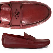 SZ 45 US 12 NEW $525 ROBERTO CAVALLI Men's Red PERFORATED LEATHER LOAFERS NIB
