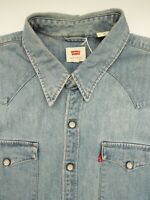 LEVI'S DENIM SHIRT MEN'S REGULAR FIT POPPERS LARGE LIGHT BLUE LSHT672