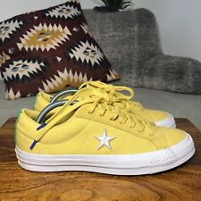 Mens CONVERSE ALL STAR ONE STAR OX Suede Trainers Yellow/Green/White - UK8.5/42
