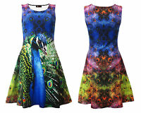 Bright And Colourful Peacock Feathers Animal Print Sleeveless Skater Flare Dress