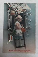 AK Neujahrskarte Kind Mädchen auf Leiter Geldsäcke um 1915