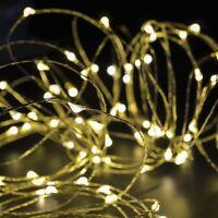 LED Lichterkette Draht 10M 100 LED Licht SILBER Drahtlichterkette TOP Warmweiß