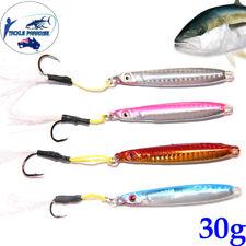 4x 30g Metal Slice Micro Jigs Fishing Lures Jig Bait Spoon Tackle Salmon Kings