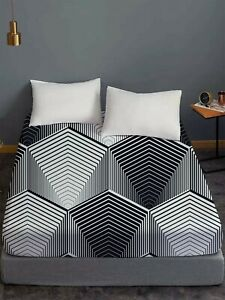 Geometric Line Design Adults Teens Fitted Sheet Single Double King Super King