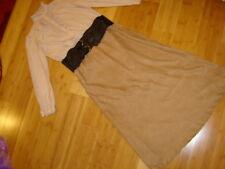 Victorian steampunk lady  sz 10 12 dress 2 pc tan blouse faux suede skirt belt