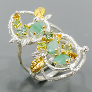 Vintage Emerald Ring Silver 925 Sterling  Size 8 /R176826