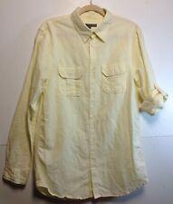 4fffc240 Old Navy Men's Linen Blend Button Down Shirt M Tall Pale Yellow Roll Tab  Sleeves