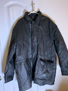 Ruffiano By Hahn Mens  Leather Coat 2Xl Hooded Jacket Black Lined Pockets
