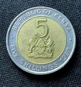 1997 Kenya 5 Shillings Coin UNC    Copper nickel Brass Coin    #K1366