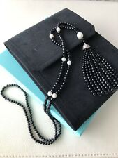 """Tiffany & Co Ziegfeld Black Onyx & Pearl Tassle Necklace 33"""" w/ Pouch & Box"""
