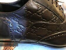 Gucci Guccissima Black Leather Shoes 44 E EU 10.5 US 11.5 Wingtips 11 1/2