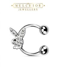 Ear Cuff Horseshoe Gem Paved Playboy Bunny Surgical Steel 14g