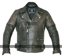 Stonewash Distressed Classic Diamond Armoured Motorcycle Biker Leather Jacket