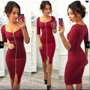 UK WOMEN'S LADIES SEXY V NECK BODYCON ZIPPER DRESS PARTY COCKTAIL EVENING PROM