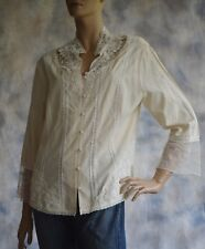 COLDWATER CREEK Sz PXL Crochet Lace Top Blouse Shirt Champagne 3/4 Sleeve Silk