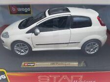 1/24 Bburago Fiat Punto EVO White Diecast Model Car White 18-21053
