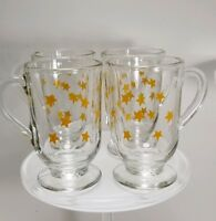 Set of 4 Coffee Cups Mugs Clear Glass w/ Handle & Footed Pedestal Base 10oz