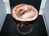 Hand Blown ART GLASS Tulip Trumpet Flower Spiral Coil Base Vase Multi Color