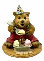 Wee Forest Folk BB-7 PARTY TIME BEAR - Red pants Party Hat - Birthday Bear AP