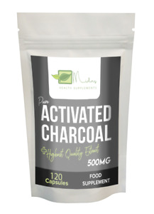 Pure Activated Charcoal 500mg Capsules 100% Natural-IBS-Digestion-60/120/365