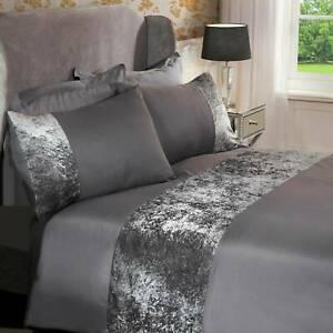 Modern Crushed Velvet Bedding Sets Silver Grey Duvet Cover Set Double King Size
