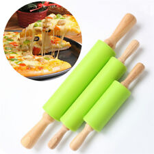 Wooden Handle Silicone Rollers Rolling Pin Pad Fondant Cake Pastry Kitchen Tool