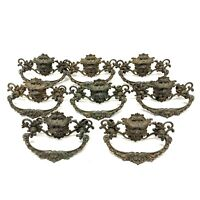 8 Antique Vtg Brass Bronze Lion Head Drawer Pull Victorian Hardware Face Figure