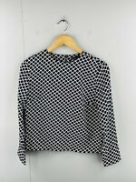 Zara Basic Women's Long Sleeve Full Zip Round Neck Blouse Size US XS Black Geo
