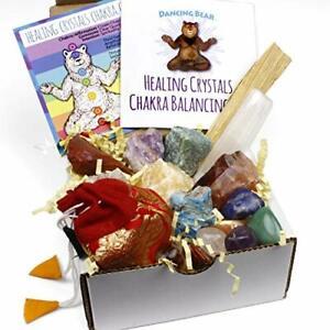 Healing Crystals Chakra Balance Kit (16 Pc Starter Set), 7 Tumbled Stones, 7