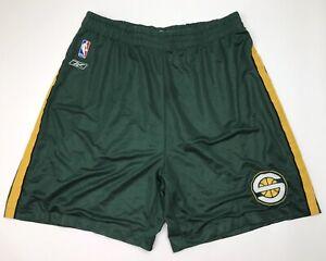 Reebok Mens Seattle Supersonics Basketball Shorts Size 2XL Green Yellow Stripe