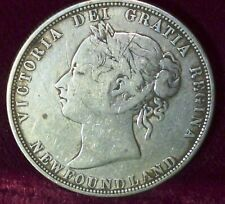 1874  Canada , PROVINCE OF NEWFOUNDLAND 50  CENTS. QUEEN VICTORIA  SILVER COIN