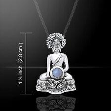 Buddha .925 Sterling Silver Pendant Rainbow Moonstone Gemstone Peter Stone