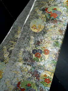 "Japanese Kimono SILK Fukuro OBI, Rokutu ,Gold thread, Silver, Plants, L170"".1462"
